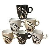 Juego de 6 tazas de café (150 ml, cerámica)