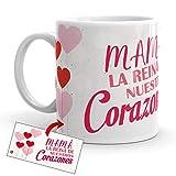 Kembilove Taza Desayuno para Madres – Tazas Originales Graciosas con Mensaje Mamá la reina de nuestros Corazones – Taza de Café para regalar el día de la Madre – Taza de 350 ml