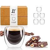 Tempery Tazas Cafe Doble Pared/Vasos Térmicos Cafe Premium Espresso - 8 cl - Juego 6 Taza de Cafe - Taza Vidrio de Café Original & Transparente Cualquier Ocasión