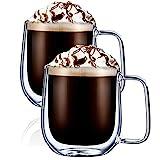 Digralne Taza de Café de Cristal Pared Doble Vaso Taza, Tazas para Espresso Juego de Vasos para Café Latte Macchiato, 300ML, 2 Piezas