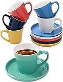 Juego de 6 Tazas de Cafe Espresso con Platos - Ceramica - Diseño Multicolor - Con Caja de Regalo - 70ml - Para Lavavajillas