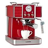 Klarstein Gusto Classico - Cafetera de espresso, Potencia 1350 W, Presión bomba 20 bar, Depósito agua 1,5 L, Boquilla de espumado de leche, Barómetro, Filtro de aluminio para cápsulas de café, Rojo