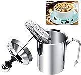 Jarra espumadora de leche, jarra de espuma de leche con bomba de mano de acero inoxidable, espumador de leche manual para hacer café capuchino (500 ml)