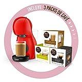 Dolce Gusto Piccolo XS EDG210.R - Cafetera de cápsulas con 15 bares de presión, 0.8L, con tres packs de café, color rojo