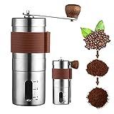 Molinillo de café manual con mecanismo de cerámica de 16,3 cm, molinillo de café manual de acero inoxidable, molinillo de café de precisión, molinillo de café manual, color plateado