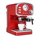 Klarstein Espressionata Gusto - Cafetera espresso, Cafetera automática, Cafetera con molinillo incorporado, 1100 W, 15 bares, 1,25 litros, Boquilla vapor, Termómetro, Bandeja de goteo extraíble, Rojo