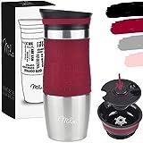 Milu Termo Taza 370ml, 450ml - Vaso Termico de Viaje - Café para Llevar - Taza de Viaje - Taza de acero inoxidable para beber - con aislamiento de doble pared (370ml, Rojo)