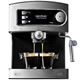 Cecotec Power Espresso 20 - Cafetera Express Manual, 850W, Presión 20 Bares, Depósito de 1,5L, Brazo Doble Salida, Vaporizador, Superficie Calientatazas, Acabados en Acero Inoxidable, Negro/Plata