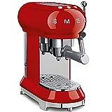 SMEG Máquina de café expreso ECF01RDEU, 1350 W, 2 kg, plástico, Rojo
