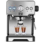 SOFACTY Cafetera Express Manual Power Espresso 1450W Presión 15 Bares Depósito De 1,7L Brazo Doble Salida Acabados En Acero Inoxidable
