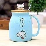 REFURBISHHOUSE Taza Resistente Al Calor de Gato Sesamo Dibujos Animados de Color con Tapa Taza de Ceramica de Cafe Leche del Gatito Taza para Ninos Regalos de Oficina(Celeste)