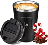 eeQiu Taza de café para Llevar 13oz 100% a Prueba de Fugas - Taza de Viaje de Acero Inoxidable - Taza de automóvil de Doble Pared Tapa de Aislamiento Taza de café Reutilizable ecológica (Negro)
