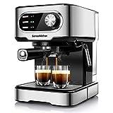 Bonsenkitchen Cafetera Expresso y Capuccino, 15 BAR de presión, ModoAuto 1 y 2 Cafés, Vaporizador Orientable, depósito 1,5 L, 850 W