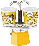 Bialetti Mini Express Color Amarillo, Cafetera + 2 Vasos