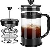 KICHLY - 8 tazas (1 litro / 1000 ml) Cafetera Francesa espresso y tetera con triple filtro émbolo de acero inoxidable (Negro)