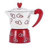 Raguso Cafetera roja Cafetera de café expreso Duradera de Aluminio Moka Pot con patrón de corazón Que se Puede Usar en la Estufa Cafetera para la Oficina del hogar(Large)
