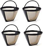 Lawei Paquete de 4 filtros de café reutilizables – tamaño 4 filtro de café permanente estilo cono se adapta a la mayoría de Cuisinart, Krups, Ninja y otros