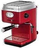 Russell Hobbs Retro – Cafetera Espresso (Presión 15 Bares, Varilla de Vapor Giratoria, Rojo) - ref. 28250-56