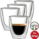Caffé Italia Torino 4 x Juego de Vasos para Espresso 60 ml - Vasos Térmicos - para Bebidas frías, Calientes, té y Latte Macchiato - Aptos para lavavajillas