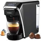 CHULUX Cafetera de cápsulas 2 en 1 compatible con cápsulas Nespresso y DG con estructura de cápsula de compresión automática-negro