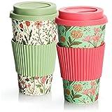 com-four 2X Taza de café para Llevar de bambú - Taza de café para Llevar - café para Llevar - Taza Reutilizable para Beber - Taza de Viaje con Tapa - 425 ml (02 Piezas - Rosa-Verde/Verde-Blanco)