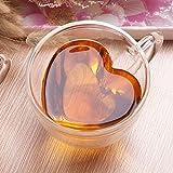 U/N Tazas de vidrio, doble pared taza de vidrio con mango, 240 ml en forma de corazón creativa, perfecto para té, chocolate caliente, café y capuchino