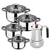 Bateria de cocina 8 piezas apta para induccion SAN IGNACIO Hita en acero inoxidable con cafetera para 6 tazas de acero inoxidable Copper
