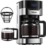 Yabano Cafetera Goteo, 1.5L(12 Tazas) Cafetera con Filtro Reutilizable, Digital con Pantalla LCD, Temporizador Programable, Función Recalentar y Mantener Caliente, 900W
