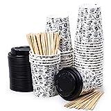 40 Vasos Desechables de Café para Llevar - Vasos Carton 240 ml con Tapas y Agitadores de Madera para Servir el Café, el Té, Bebidas Calientes y Frías