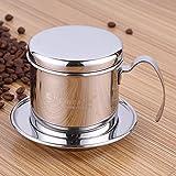Cafetera de filtro, acero inoxidable vietnamita cafetera eléctrica Pot Pot de goteo de filtros, de goteo de café taza café Brewer – Portátil, reutilizable, para hogar cocina oficina uso en exteriores