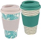 com-four 2X Taza de café para Llevar Hecha de bambú - Taza de café para Llevar - café para Llevar - Taza Reutilizable para Beber - Taza de Viaje con Tapa (02 Piezas - Gris Claro/Verde)