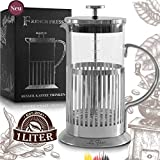 Le Flair French Press - Cafetera de émbolo de acero inoxidable para 1 litro de café, 1 L de cristal, incluye caja de regalo