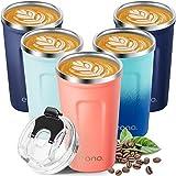 Amazon Brand - Eono Termo Cafe para Llevar 380 ml, Vaso Termico Cafe para Bebidas Frías y Calientes, Reutilizable Taza Termo con doble pared de Acero Inoxidable sin BPA y Fácil de Limpiar