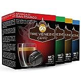 64 cápsulas de café italiano Tre Venezie Dolce Gusto compatibles, caja mixta. 16 cápsulas por caja. 0,23 € por cápsula