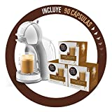 Pack Krups Dolce Gusto Mini Me KP1201 - Cafetera de cápsulas, 15 bares de presión, color blanco y gris + 90 cápsulas de café con Leche