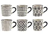 H&H Vhera - Juego de 6 tazas de café (90 ml), color blanco y negro