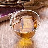 Haomingxing Taza de té creativa con forma de corazón de doble pared, taza de café de cristal transparente, taza de café con leche de regalo, taza de té en forma de corazón, 240 ml