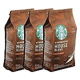 Starbucks House Blend - Juego de 3 tazas de café molido, tostado medio, café tostado con notas de café molido, 3 x 200 g