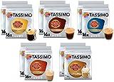Tassimo Café Marcilla Selección de café - Marcilla Café con Leche/Cortado/Espresso/Café Largo/Espresso Descafeinado Cápsulas de café - 10 paquetes (160 porciones)
