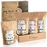 CAJITA CAFÉ MOLIDO ECOLOGICO | Caja café degustación, 4x250g, Torrefactado Artesanal | Café ecológico molido Arábica | Idea para Regalar