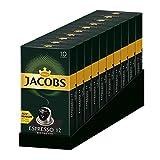 Jacobs Espresso Ristretto - Nespresso* Cápsulas de café de aluminio compatibles - 10 Paquetes de 10 cápsulas (100 bebidas)