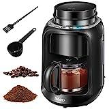 Yabano cafetera de Goteo con Molinillo Grano, 2 IN 1 Cafetera de filtro, 600W y Filtro Lavable Compatible con café molido, jarra térmica de 600 ml, negro