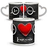 Tazas de Café Originales Personalizadas con Frase/Nombre. Tazas Asa Corazon. Regalos San Valentin Personalizados. Taza San Valentin de Cerámica. Taza Asa Corazon Café