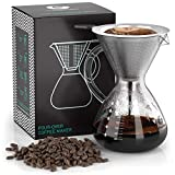Coffee Gator Cafetera de goteo'Pour Over' manual con filtro de café permanente de acero inoxidable y jarra. (800ml)