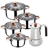 Bateria de cocina 8 piezas apta para induccion SAN IGNACIO Altea en acero inoxidable con cafetera para 6 tazas de acero inoxidable Copper
