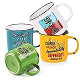 LIFVER Juego de 4 tazas de café grandes de porcelana para café, té, cacao, tazas de café estilo retro, multicolor