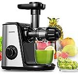 Bonsenkitchen Extractor de Zumos para Verduras y Frutas, Licuadora Prensado en Frio con Función inversa, Extractor de Jugos de Silencioso, BPA Free, Cepillo para Fácil de Limpiar - MJ8901