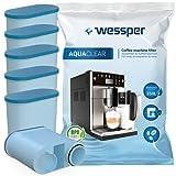 Wessper AquaClear WES040 Juego de 6 filtros de agua para cafeteras automáticas Saeco y Philips AquaClean CA6903/10, CA6903/22, CA6903, filtro anti cal, WES040