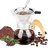 Brynnl Juego de cafetera para verter sobre café, jarra de vidrio borosilicato de 300 ml con mango de madera, cafetera manual con filtro de acero inoxidable sin papel para casa, oficina, fiesta